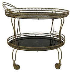 Vintage 1960s Italian Brass Drinks Trolley Bar Cart