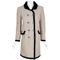 Vintage 1960's Italian Couture Creme Waffle Silk-Pique Double Breasted Mod Coat
