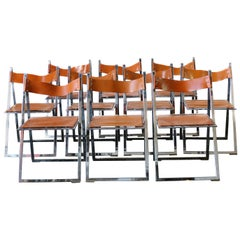 Vintage 1960s Italian Set of Six Chrome and Leather Folding Chairs by Elios