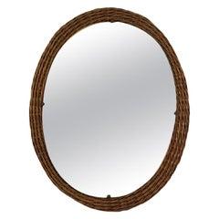 Vintage 1960s Italian Wicker Wall Mirror