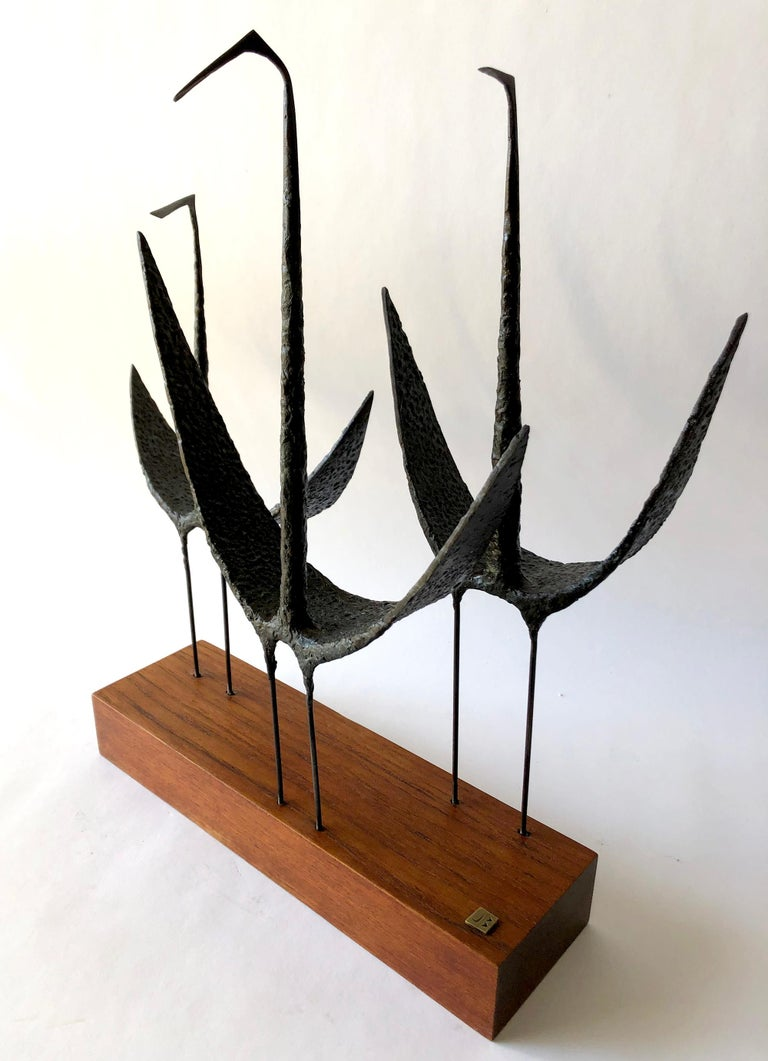 Mid-Century Modern Vintage 1960s Jack Boyd Iron Shorebirds Sculpture on Walnut Base