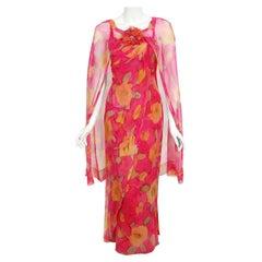 Vintage 1960's Jean LeFebure Couture Watercolor Floral Silk Chiffon Dress & Cape