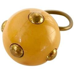 Vintage 1960s Kenneth Jay Lane Beige Bakelite Plastic Go Go Ring Brass Studs