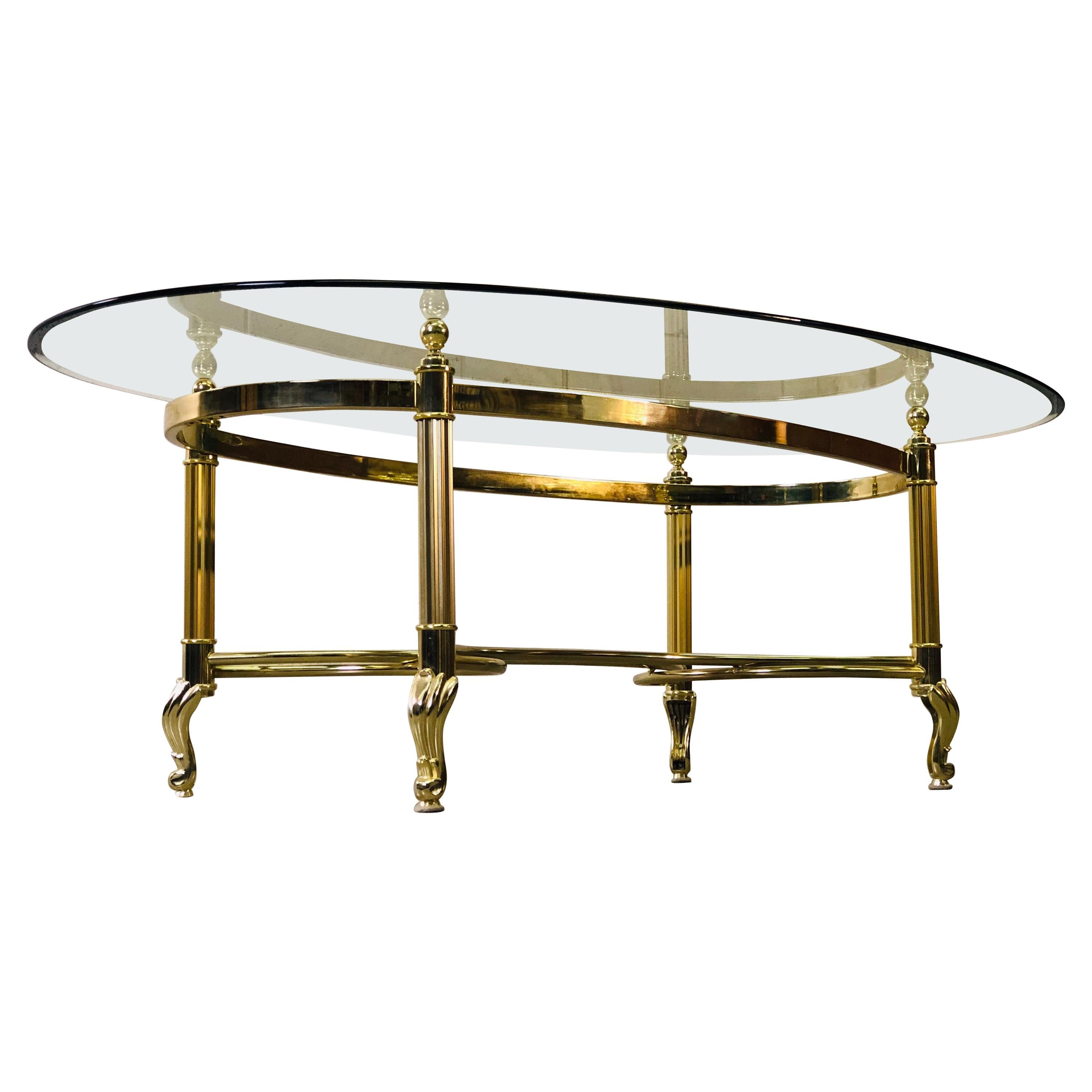 Vintage 1960s Labarge Scroll Brass & Glass Top Coffee Table