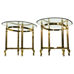 Vintage 1960s LaBarge Scroll Brass & Glass Top Side Tables, Pair