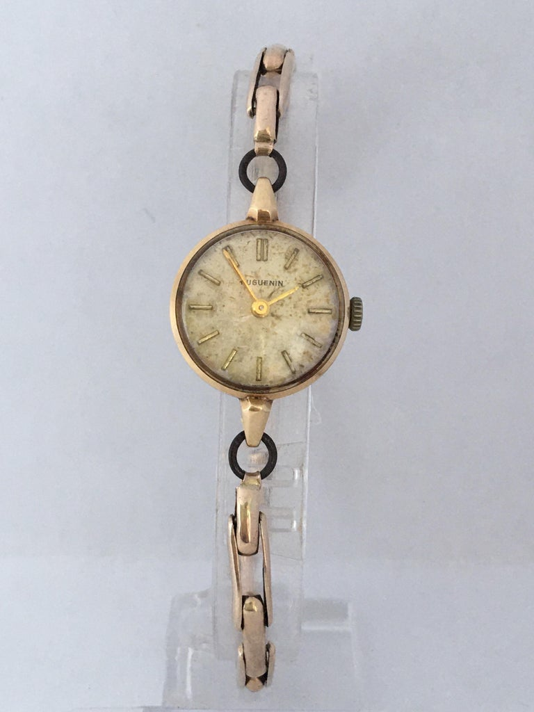 Vintage 1960s Ladies Gold-Filled Mechanical Watch For Sale 4