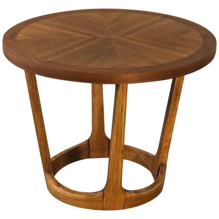 Vintage 1960s Lane Furniture Small, Small Round Antique Side Table