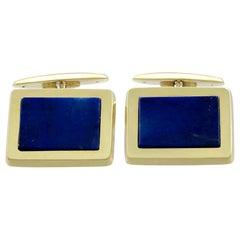 Vintage 1960s Lapis Lazuli Yellow Gold Cufflinks