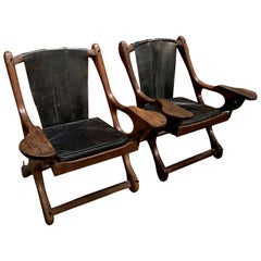 Vintage 1960s Leather and Cocobolo Sling 'Swinger' Chairs by Don Shoemaker