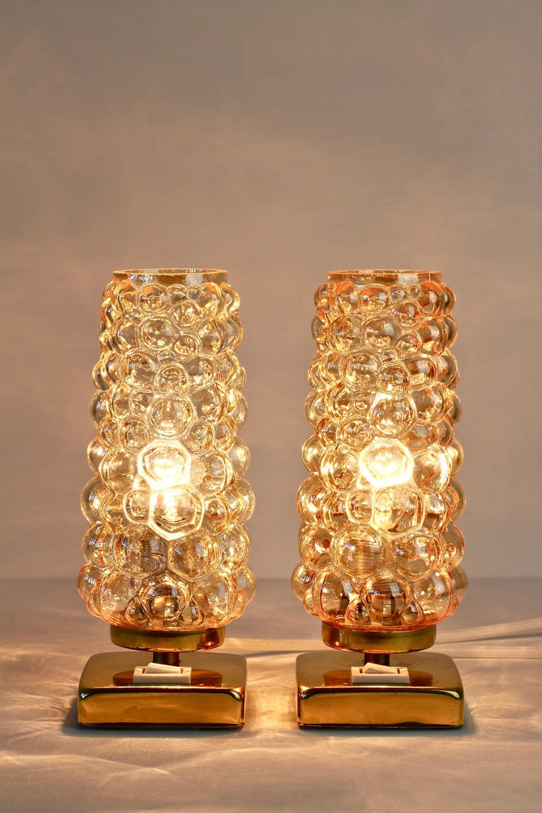 Vintage 1960s Limburg Style Amber Bubble Glass and Brass ...
