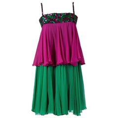 Vintage 1960's Maisonette Couture Green & Fuschia Tiered Sequin Chiffon Dress