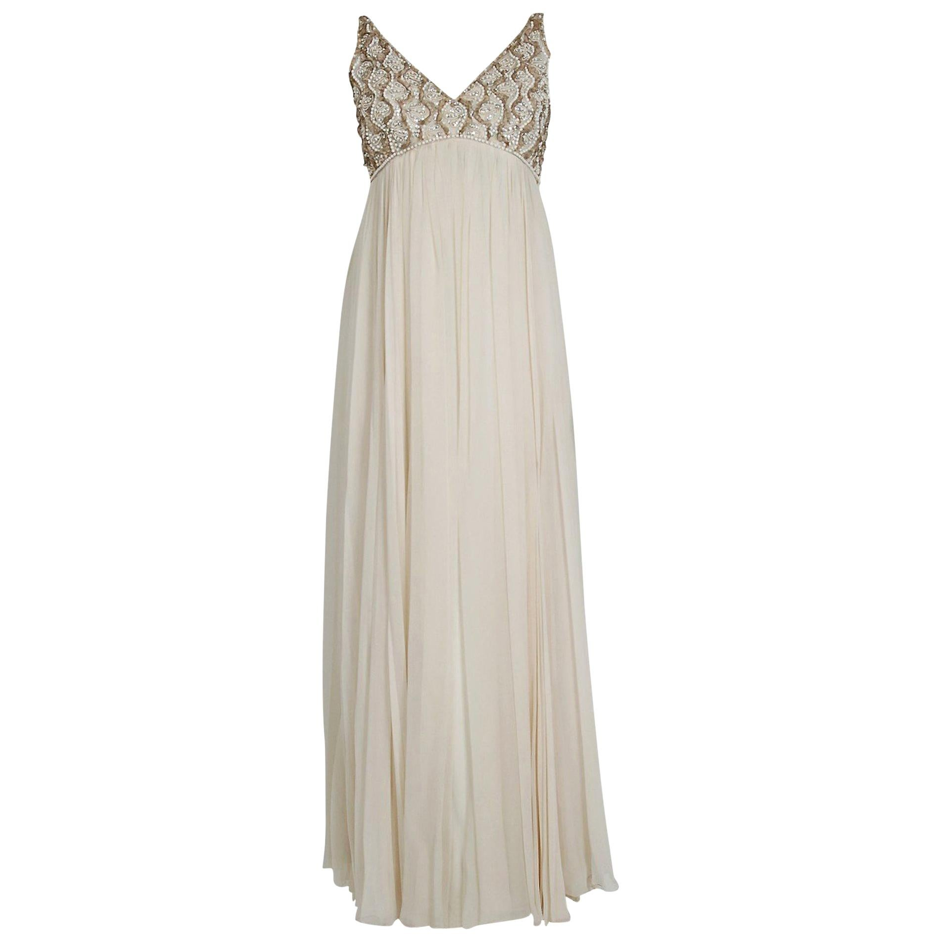 Vintage 1960's Malcolm Starr Beaded Ivory Chiffon Empire Goddess Bridal Gown
