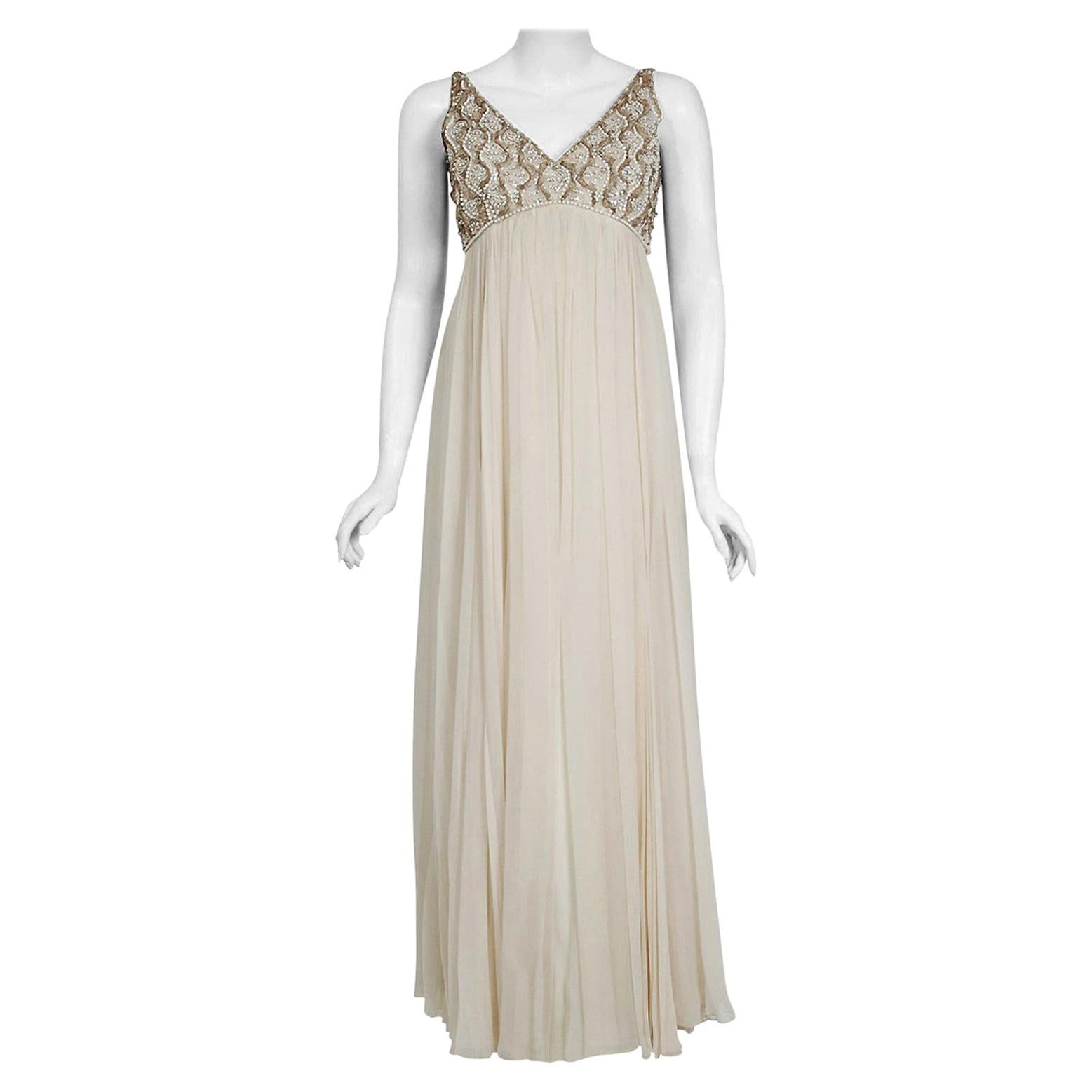 Vintage 1960's Malcolm Starr Beaded Ivory Silk-Chiffon Empire Bridal Dress Gown