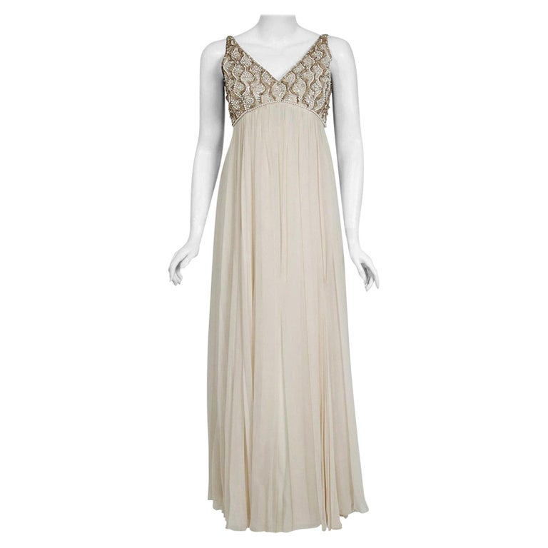 Vintage 1960's Malcolm Starr Beaded Ivory Silk-Chiffon Empire Bridal Dress Gown For Sale