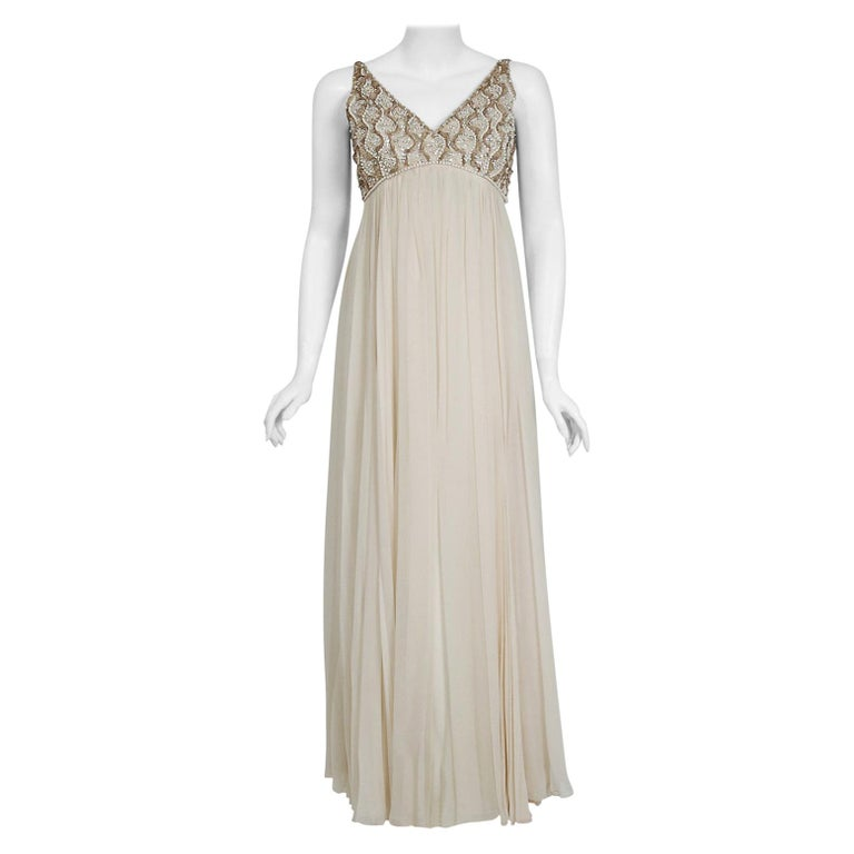 Vintage 1960's Malcolm Starr Beaded Ivory Silk-Chiffon Empire Goddess Gown  For Sale