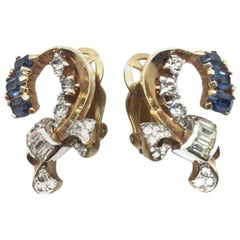 Vintage 1960'S Mazer Faux Sapphire & Diamond Clip Earrings