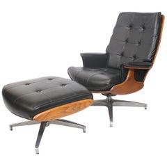 Vintage 1960s Mid-Century Modern Heywood-Wakefield Lounge Chair and Ottoman