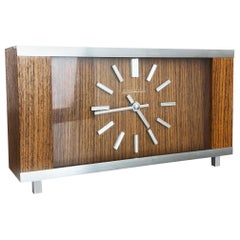 Vintage 1960s Modernist Wooden Table Clock by Dugena, Germany