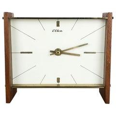 Vintage 1960s Modernist Wooden Teak and Brass Table Clock by Elka, Germany
