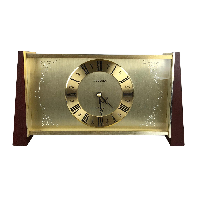 Vintage 1960s Modernist Wooden Teak Brass Table Clock by Dugena, Germany