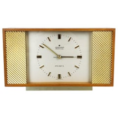 Vintage 1960s Modernist Wooden Teak Table Clock by Junghans Electronic, Germany