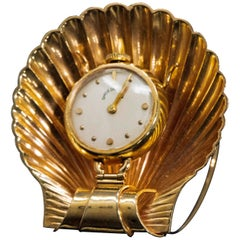 Vintage 1960s Movado Multi Functional Gold Conch Sea Shell Brooch Pendant Watch