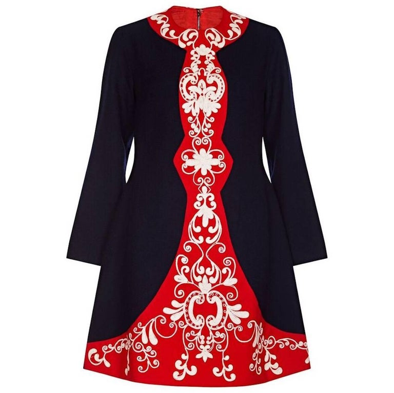 Vintage 1960s Navy and Red Wool Crepe Embroidered Mod Dress For Sale