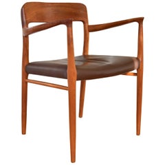 Vintage 1960s Niels Otto Møller arm chair Model 56 Teak leather by J.L. Møller
