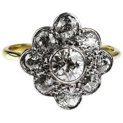 Vintage 1960's Old European Cut Diamond Cluster Ring in 18ct Gold & Platinum