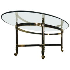 Vintage 1960s Oval Glass Table Coffee Table by Labarge
