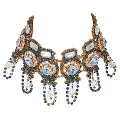 Vintage 1960's Over-Sized Multicolored Rhinestone Bib Choker Statement Necklace