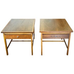 Vintage 1960s Pair of 'Delineator' Walnut Side Tables by Paul McCobb for Lane