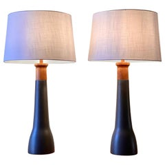 Vintage 1960s Pair of Gordon and Jane Martz Black Ceramic and Walnut Table Lamps