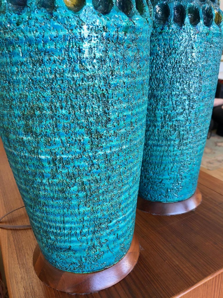 Mid-Century Modern Vintage 1960s Pair of Large Turquoise Ceramic Table Lamps