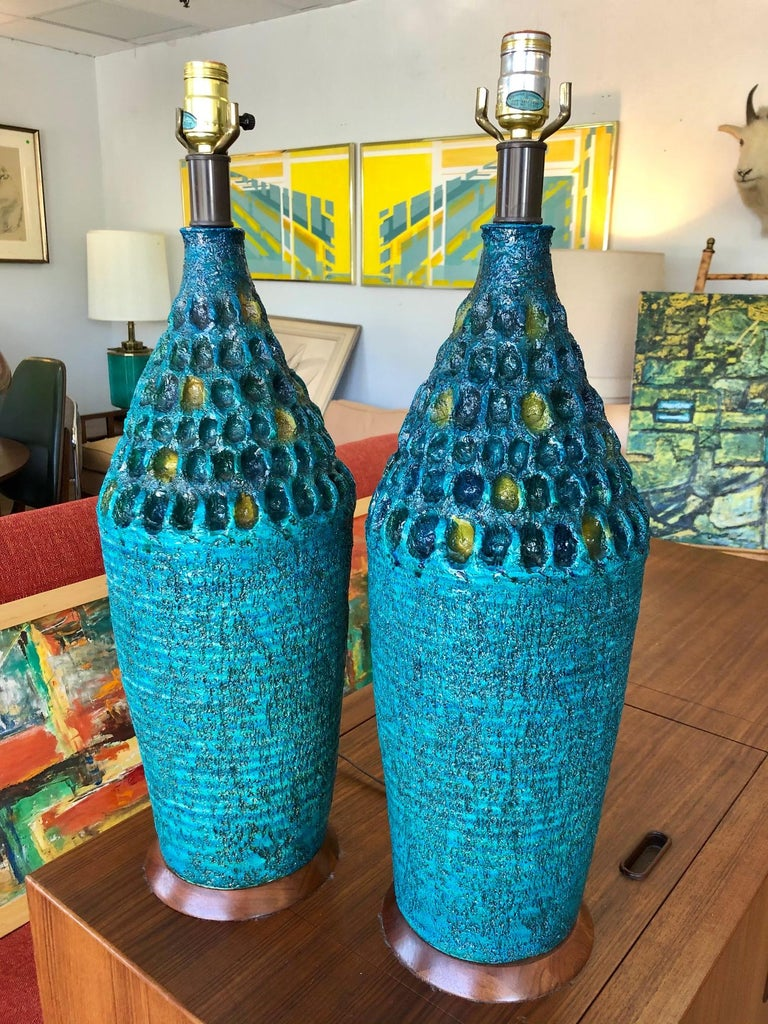 Unknown Vintage 1960s Pair of Large Turquoise Ceramic Table Lamps