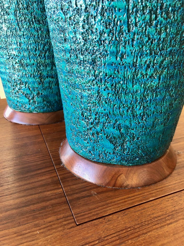 Pottery Vintage 1960s Pair of Large Turquoise Ceramic Table Lamps