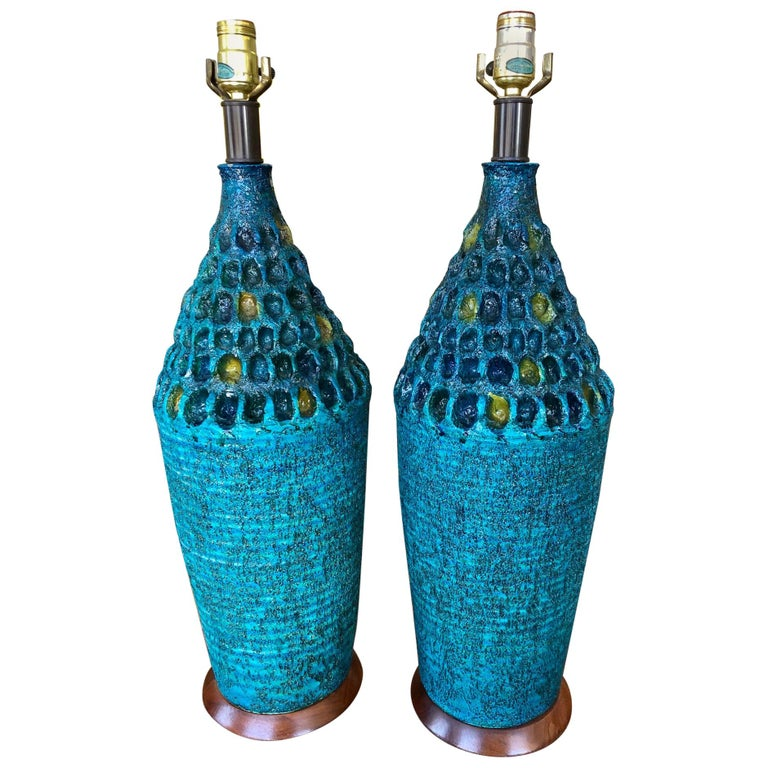 Vintage 1960s Pair of Large Turquoise Ceramic Table Lamps