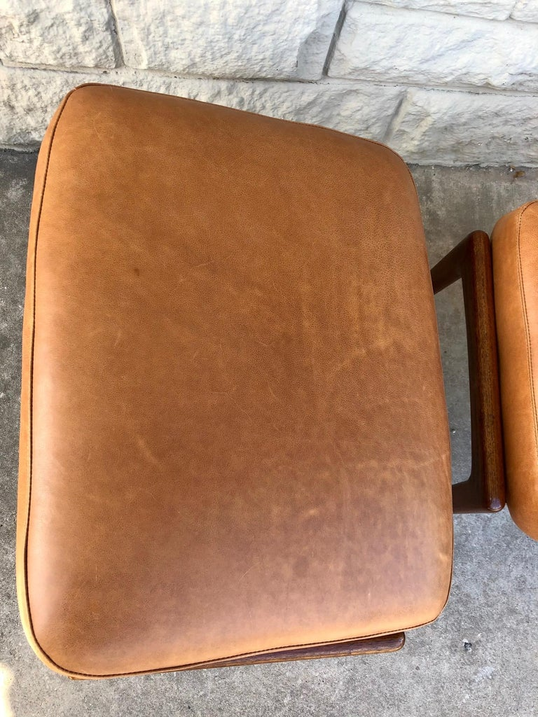 Vintage 1960s Pair of Teak Ottomans by Folke Ohlsson for DUX of Sweden In Good Condition For Sale In San Antonio, TX