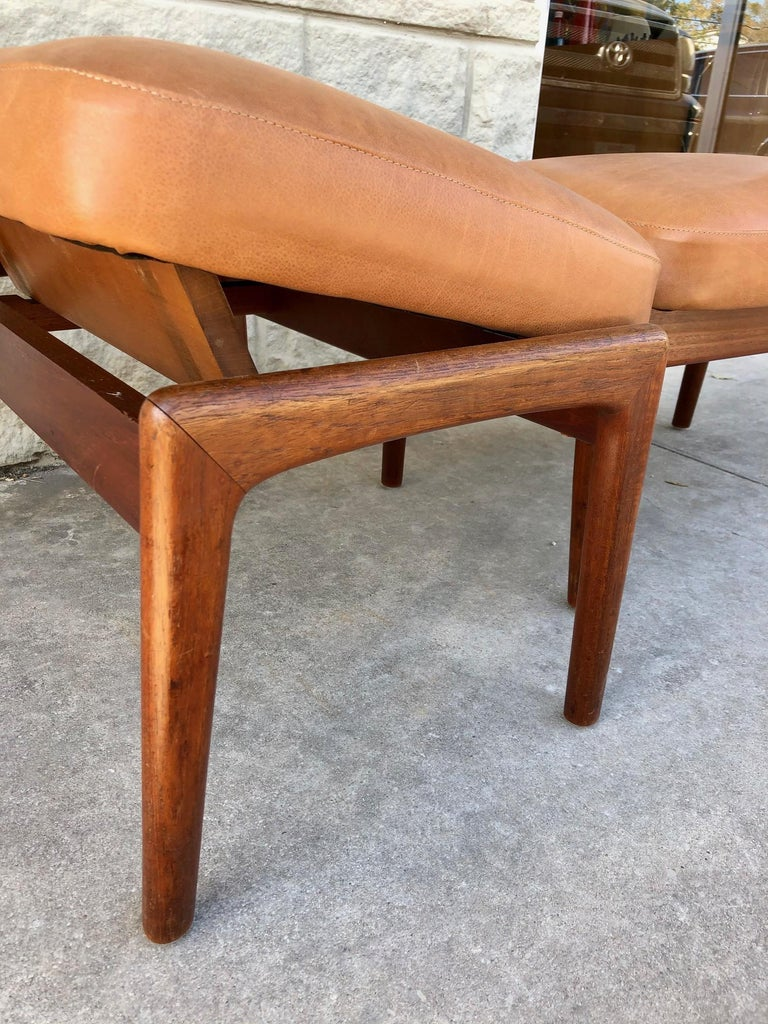 Leather Vintage 1960s Pair of Teak Ottomans by Folke Ohlsson for DUX of Sweden For Sale
