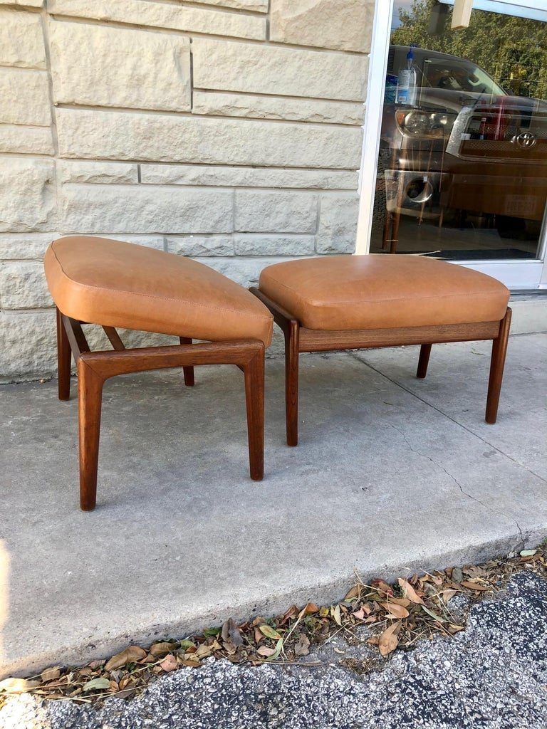 Vintage 1960s Pair of Teak Ottomans by Folke Ohlsson for DUX of Sweden For Sale 1