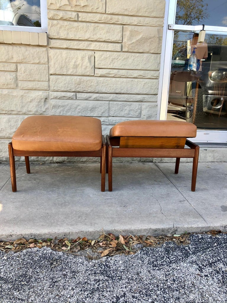 Mid-Century Modern Vintage 1960s Pair of Teak Ottomans by Folke Ohlsson for DUX of Sweden For Sale