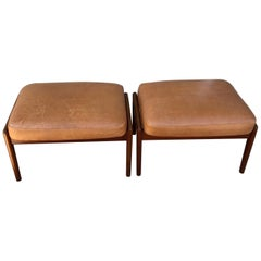 Vintage 1960s Pair of Teak Ottomans by Folke Ohlsson for DUX of Sweden