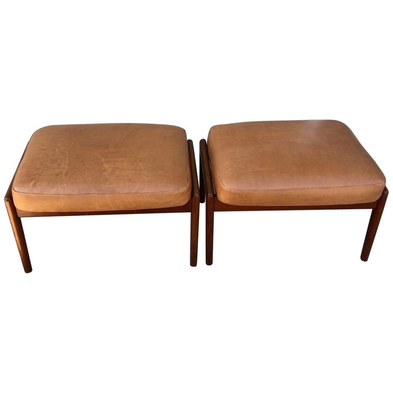 Vintage 1960s Pair of Teak Ottomans by Folke Ohlsson for DUX of Sweden For Sale