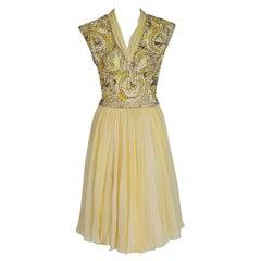 Vintage 1960's Pat Sandler Pale Yellow Beaded Embroidered Silk Chiffon Dress
