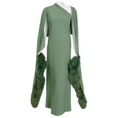 Vintage 1960's Pauline Trigere Seafoam Green Crepe One-Shoulder Gown & Fur Wrap