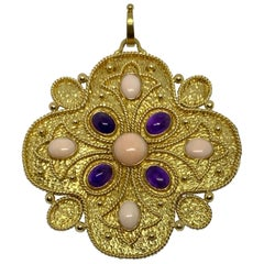 Vintage 1960s Pendant in Gold, Coral and Amethyst by Vourakis