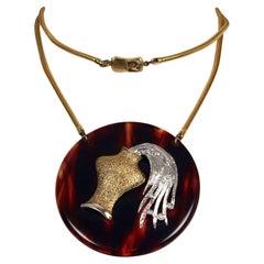Vintage 1960s PIERRE CARDIN Aquarius Zodiac Tortoiseshell Pendant Necklace