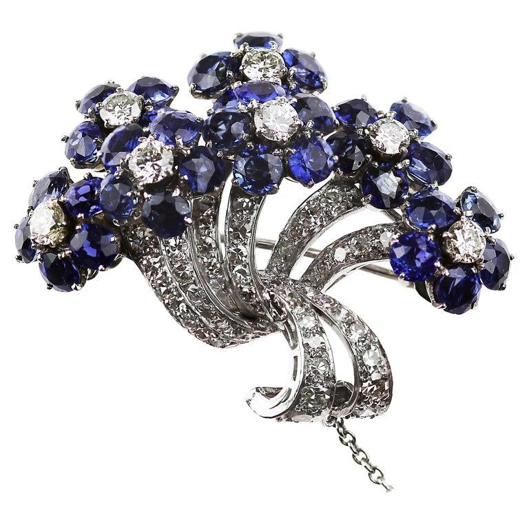 26a08c542 Vintage 1960s Platinum Diamond & Natural Sapphire Petals Flower Bouquet  Brooch For Sale