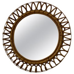 Vintage 1960s Rattan and Bamboo Round Wall Mirror by Franco Albini
