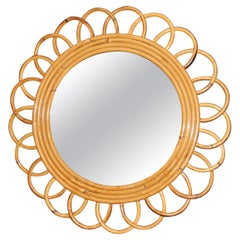 Vintage 1960's Rattan and Bamboo Round Wall Mirror by Franco Albini